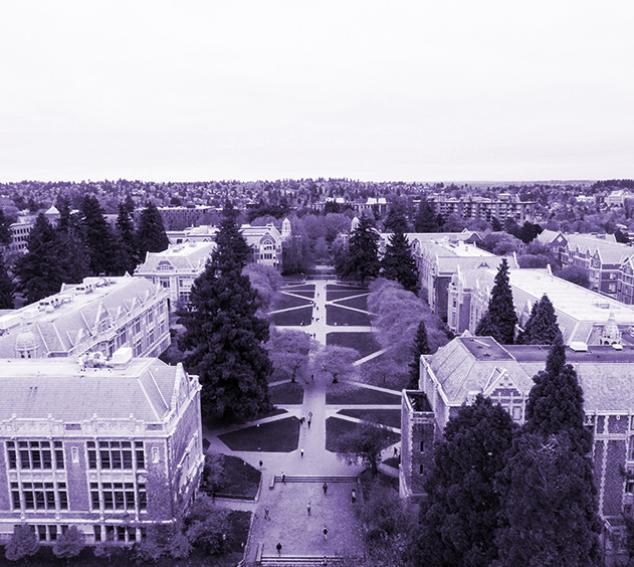 Aerial drone view of the liberal arts quadrangle (facing north)